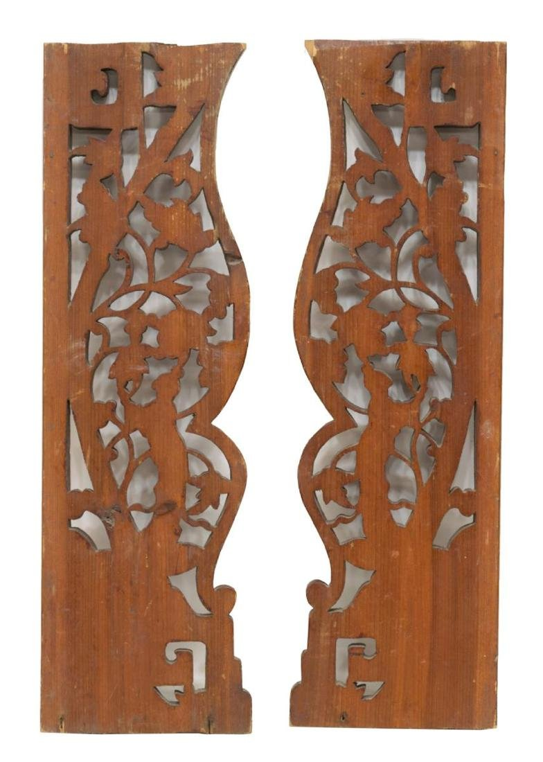 (PAIR) CHINESE ELMWOOD ARCHITECTURAL PANELS - 2