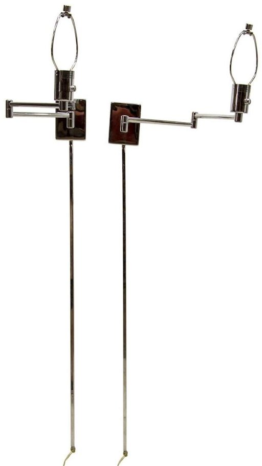 2 Hinson Lighting Chrome Swing Arm Wall Lamps