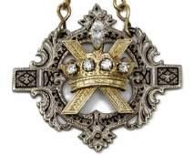 18K GOLD & SILVER DIAMOND RELIGIOUS BADGE ON CHAIN