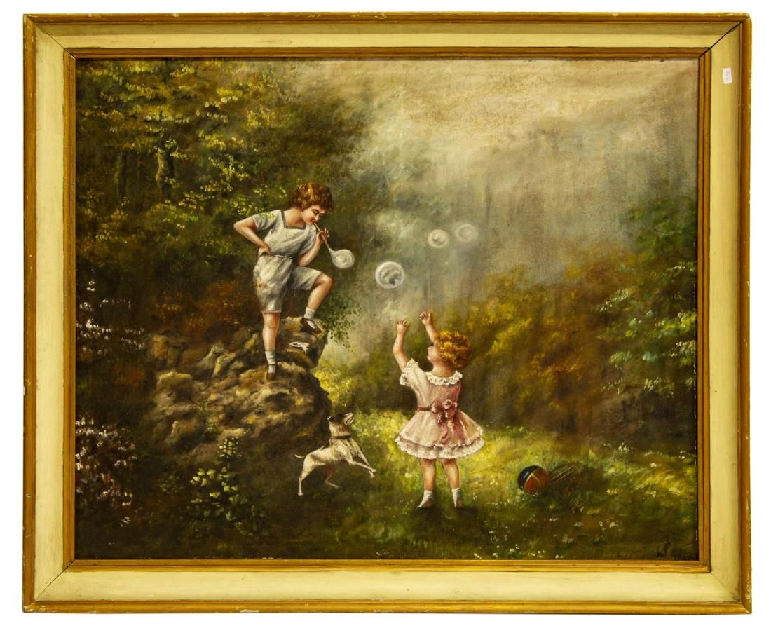 FRAMED OIL ON CANVAS PAINTING OF CHILDREN PLAYING