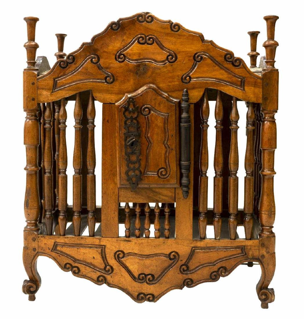FRENCH SPINDLE TURNED WALNUT PANETIERE