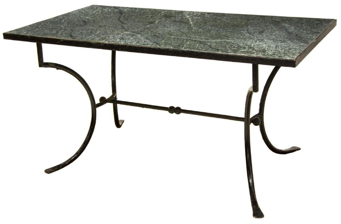 OUTDOOR PATIO MARBLE-TOP IRON FRAMED TABLE