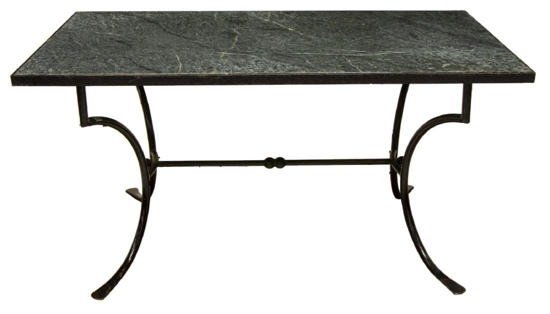 OUTDOOR PATIO MARBLE-TOP IRON FRAMED TABLE - 2