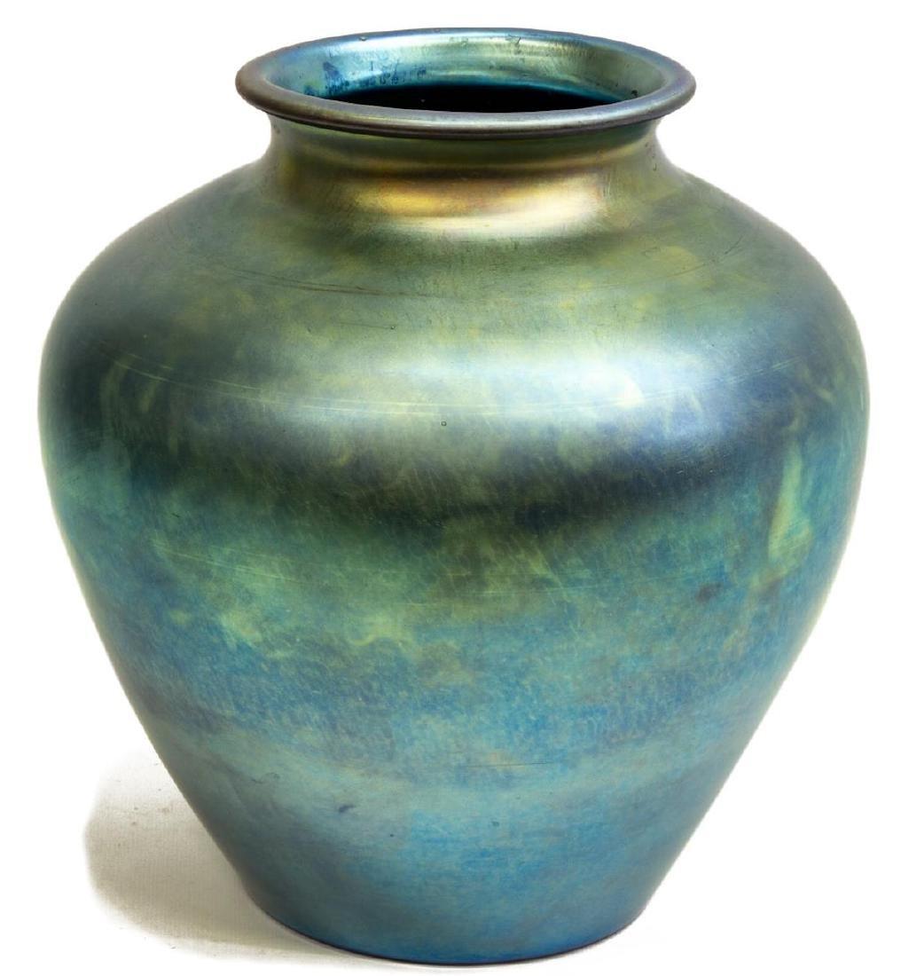 CARDER STEUBEN BLUE AURENE ART GLASS VASE 2683 - 2