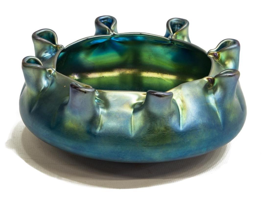CARDER STEUBEN BLUE AURENE ART GLASS LOW BOWL - 2