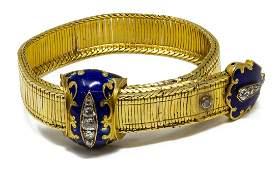 VICTORIAN ENAMELED 18KT GOLD & DIAMOND BRACELET