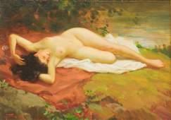 JOSEPH TOMANEK (D.1974) OIL PAINTING FEMALE NUDE
