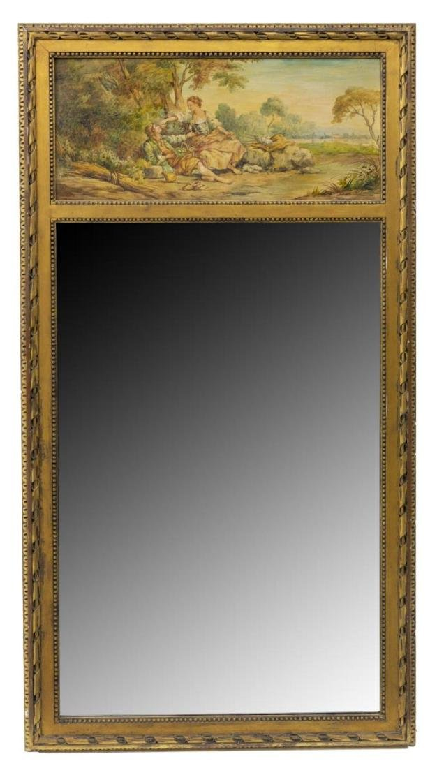 FRENCH PAINTED TRUMEAU BEVELED MIRROR