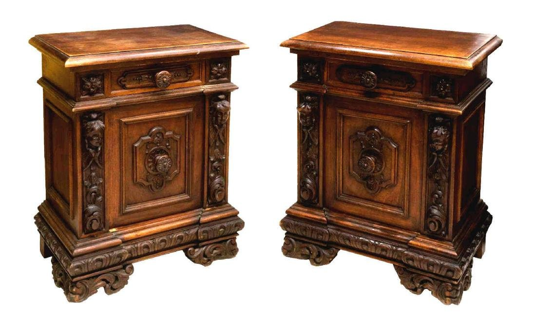 (PAIR) FRENCH RENAISSANCE REVIVAL BEDSIDE CABINETS