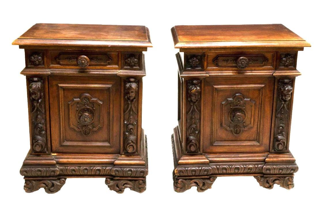 (PAIR) FRENCH RENAISSANCE REVIVAL BEDSIDE CABINETS - 2