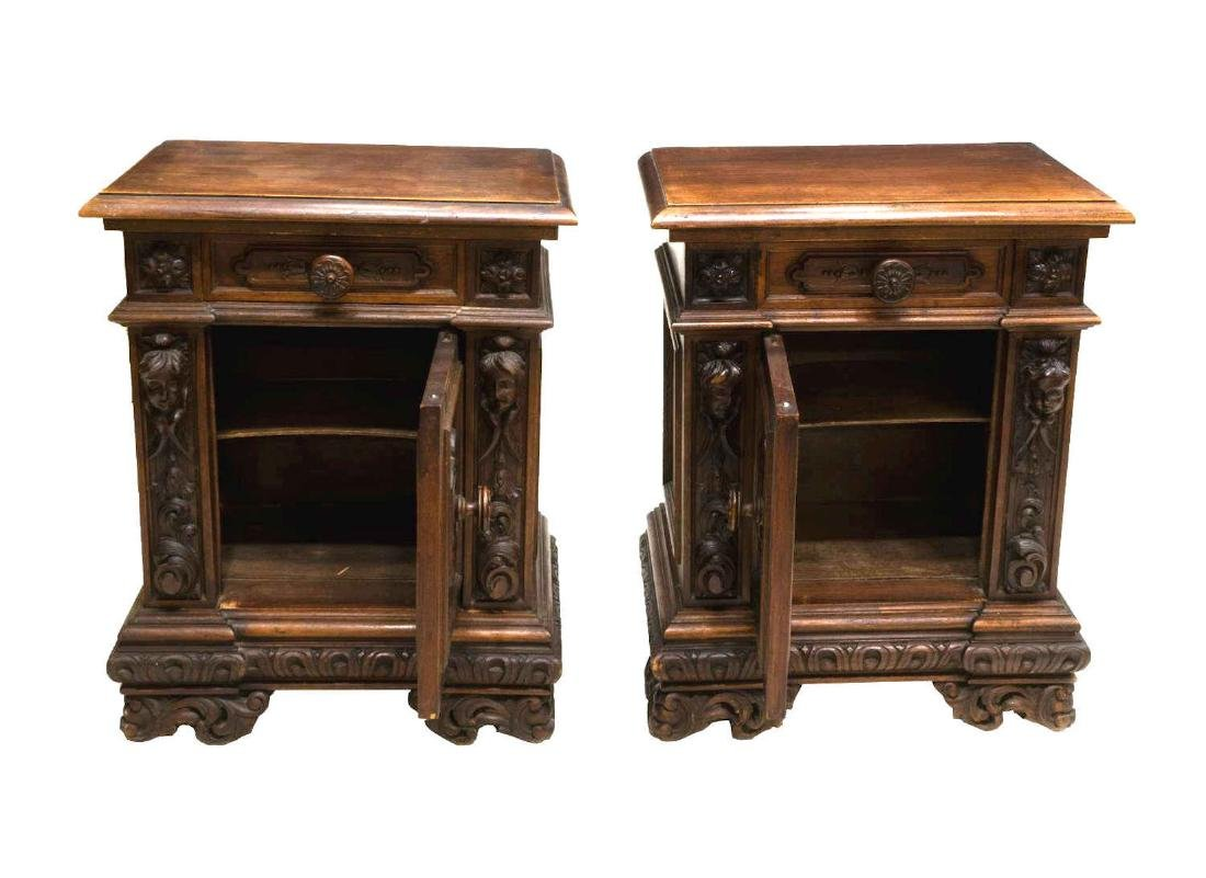 (PAIR) FRENCH RENAISSANCE REVIVAL BEDSIDE CABINETS - 3