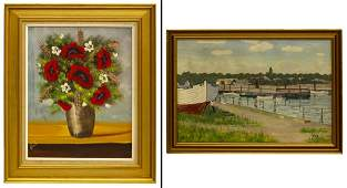 (2) FRAMED OIL ON CANVAS PAINTINGS, SIGNED