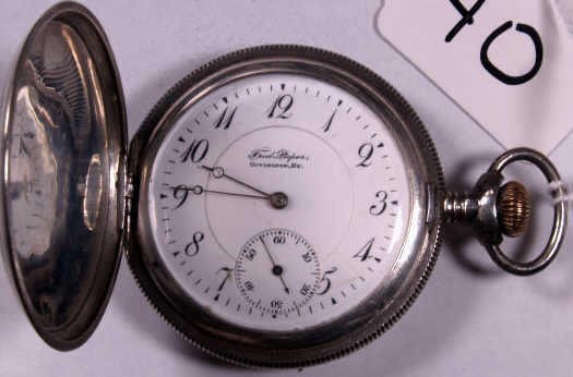 23: ILLINOIS HUNTER CASE POCKET WATCH STERLING SILVER