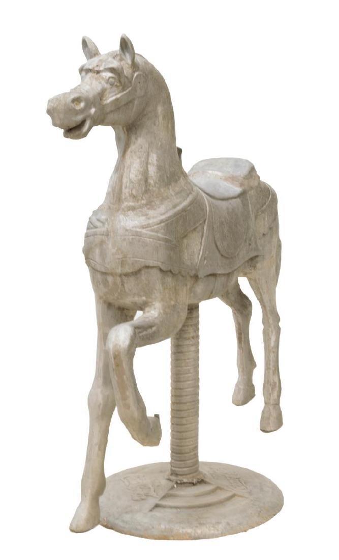 LARGE COCA-COLA UNPAINTED CAST ALUMINUM HORSE
