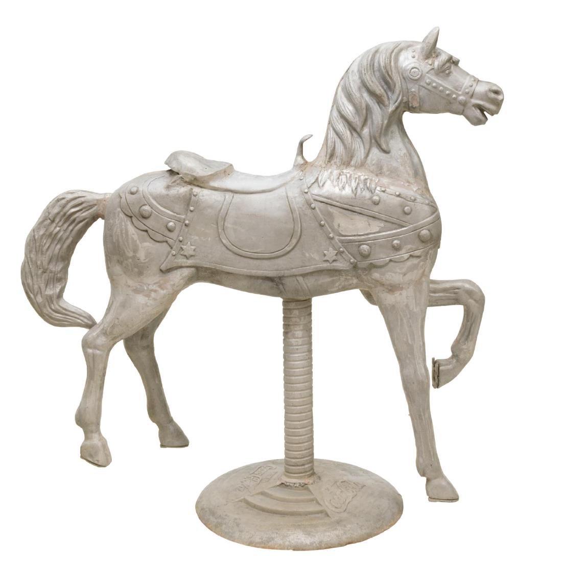LARGE COCA-COLA UNPAINTED CAST ALUMINUM HORSE - 2