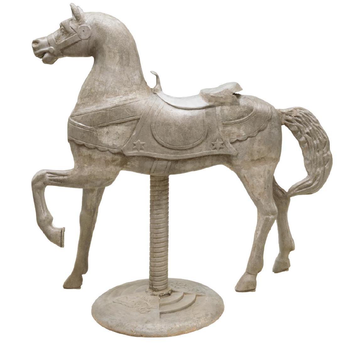 LARGE COCA-COLA UNPAINTED CAST ALUMINUM HORSE - 3