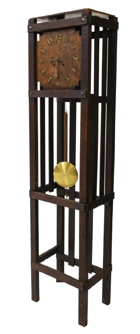 MISSION OAK TALL CASE CLOCK, WATERBURY MOVEMENT