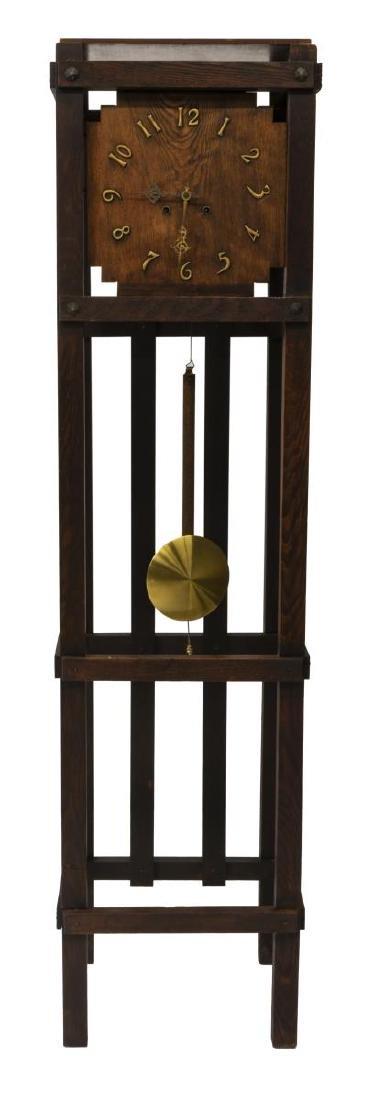 MISSION OAK TALL CASE CLOCK, WATERBURY MOVEMENT - 2