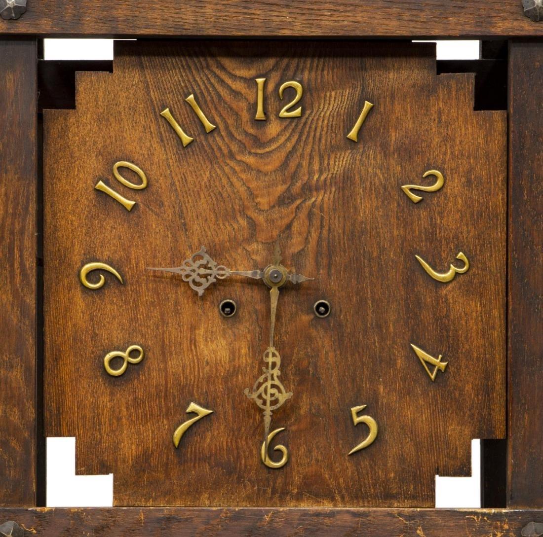 MISSION OAK TALL CASE CLOCK, WATERBURY MOVEMENT - 3