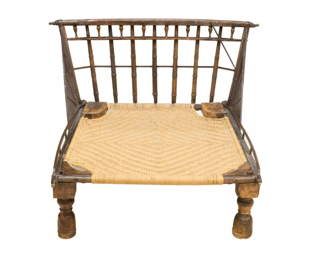 IRON & WOOD FRAMED PLANTATION LOUNGE CHAIR - 2