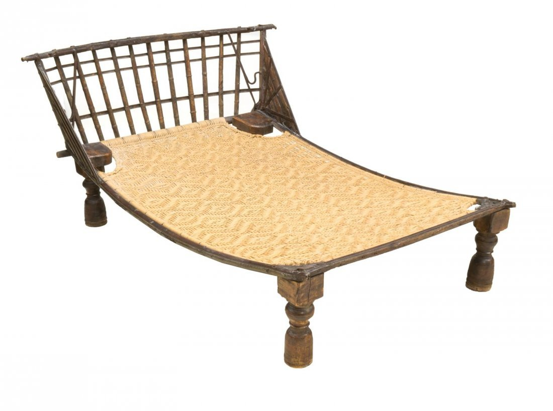 IRON & WOOD FRAMED PLANTATION DOUBLE LOUNGE CHAIR