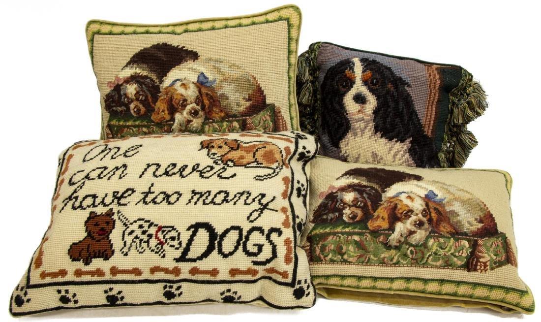 (4) DECORATIVE DOG THEMED NEEDLEPOINT PILLOWS