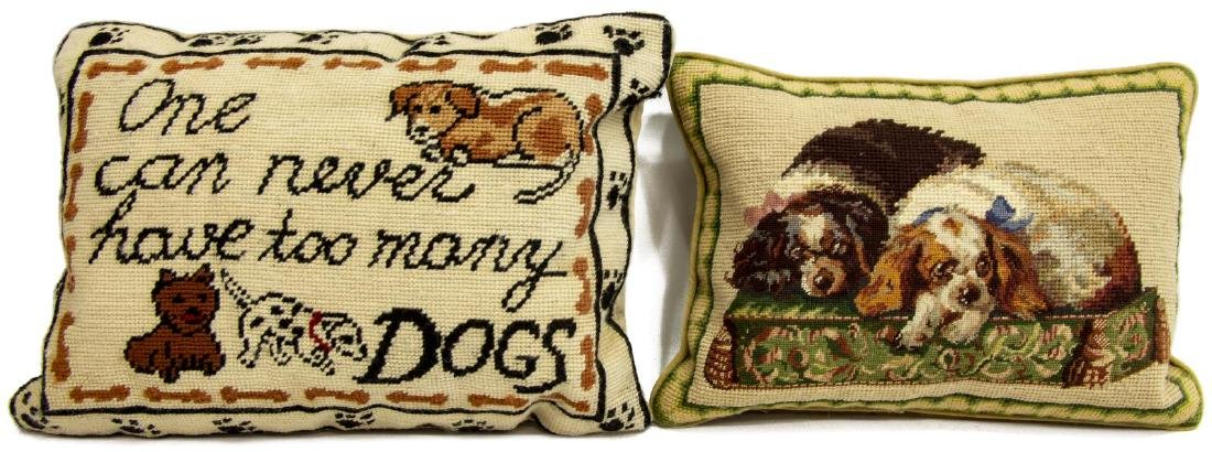 (4) DECORATIVE DOG THEMED NEEDLEPOINT PILLOWS - 4