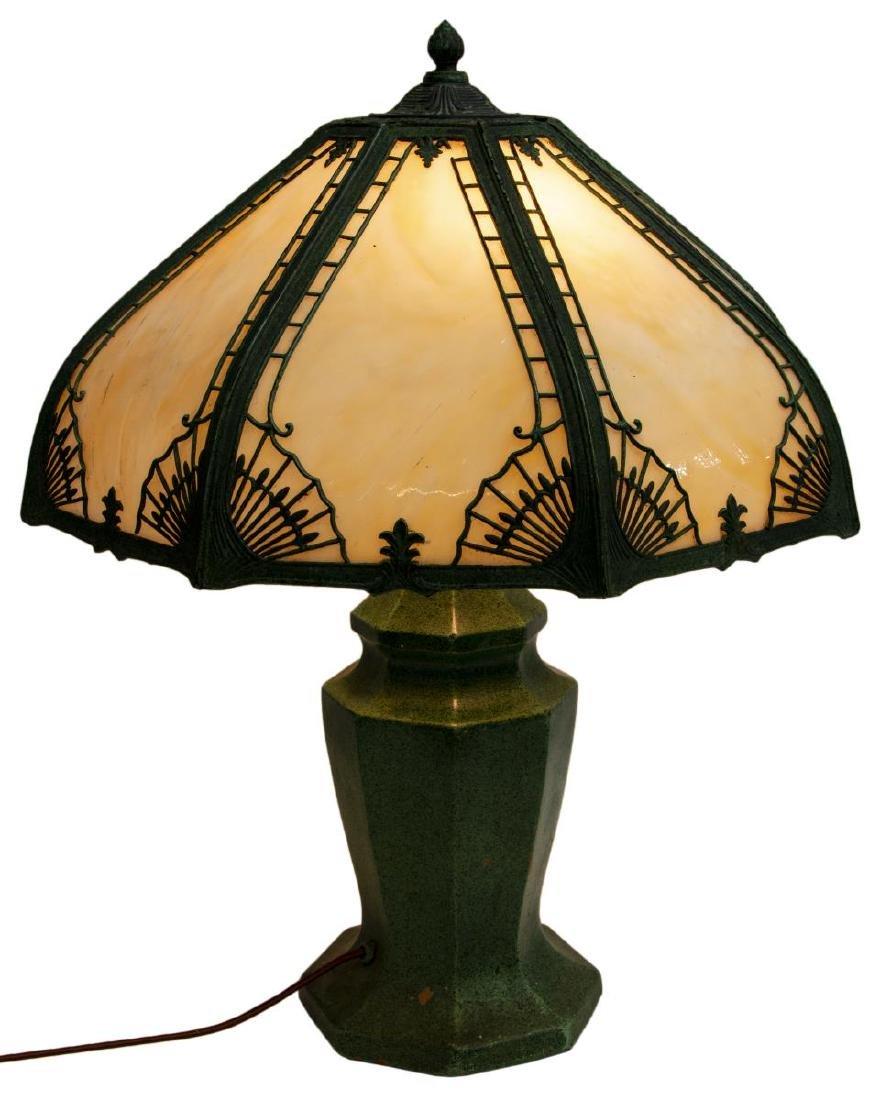 VINTAGE SLAG GLASS & GLAZED CERAMIC TABLE LAMP