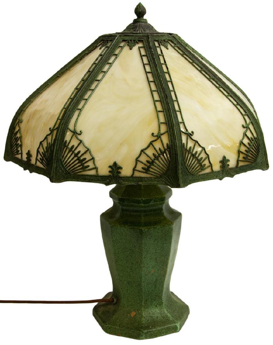 VINTAGE SLAG GLASS & GLAZED CERAMIC TABLE LAMP - 2