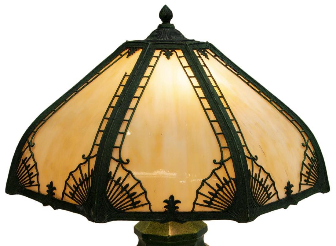 VINTAGE SLAG GLASS & GLAZED CERAMIC TABLE LAMP - 3