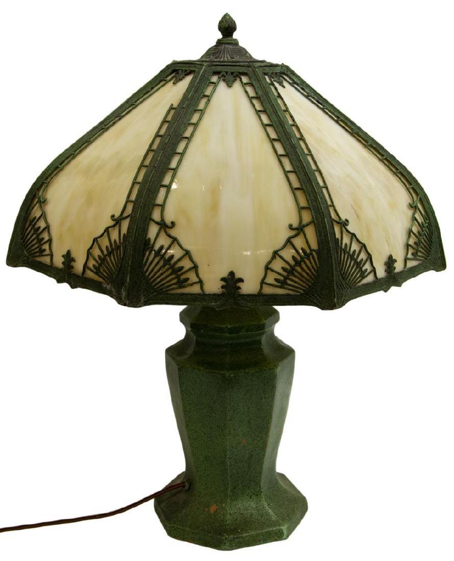VINTAGE SLAG GLASS & GLAZED CERAMIC TABLE LAMP - 4