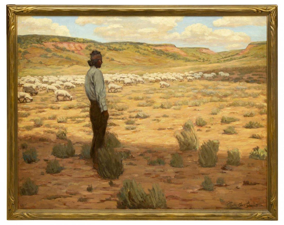 """CARL SCHMIDT (1885-1969) """"NAVAJO HERDER"""", 46 x 60"""