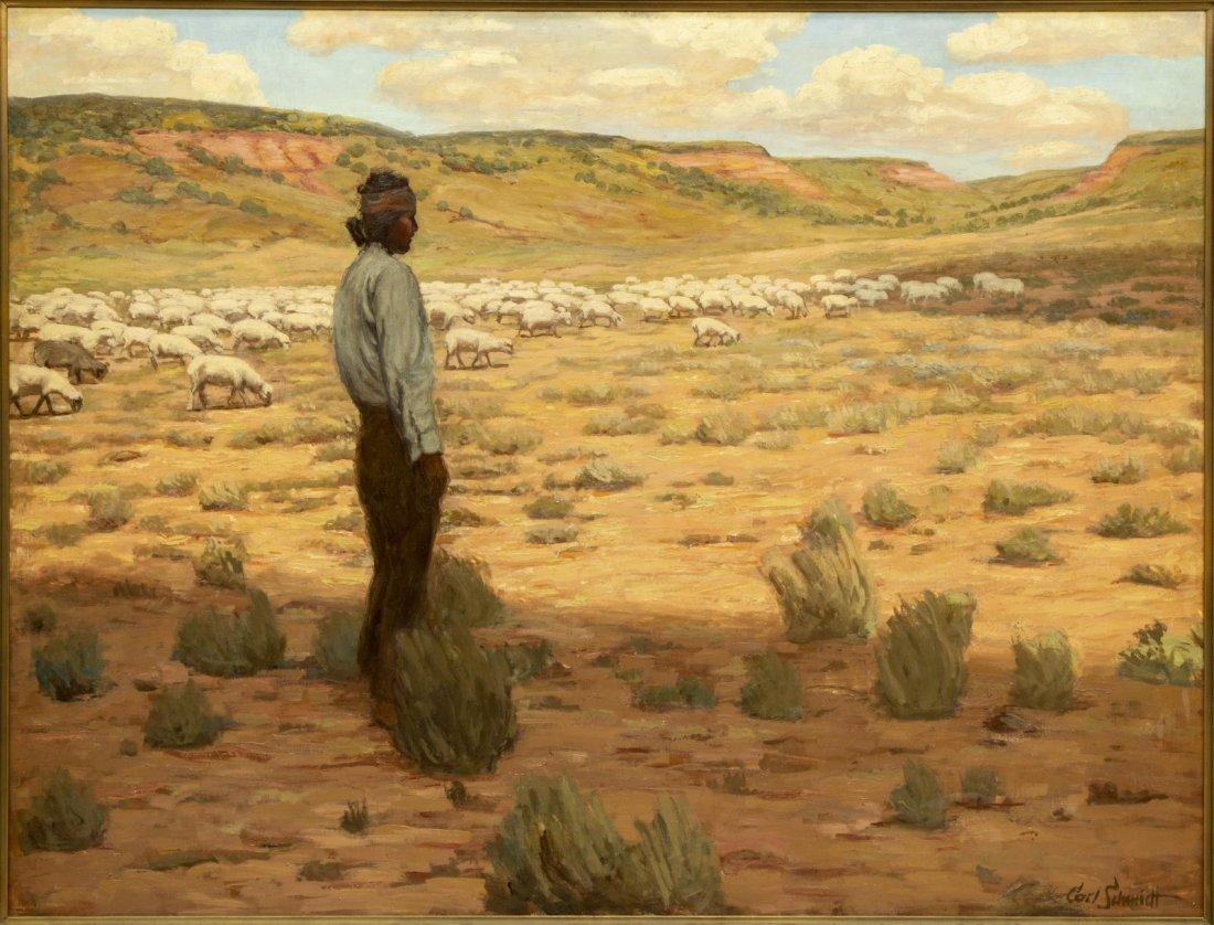 """CARL SCHMIDT (1885-1969) """"NAVAJO HERDER"""", 46 x 60 - 2"""