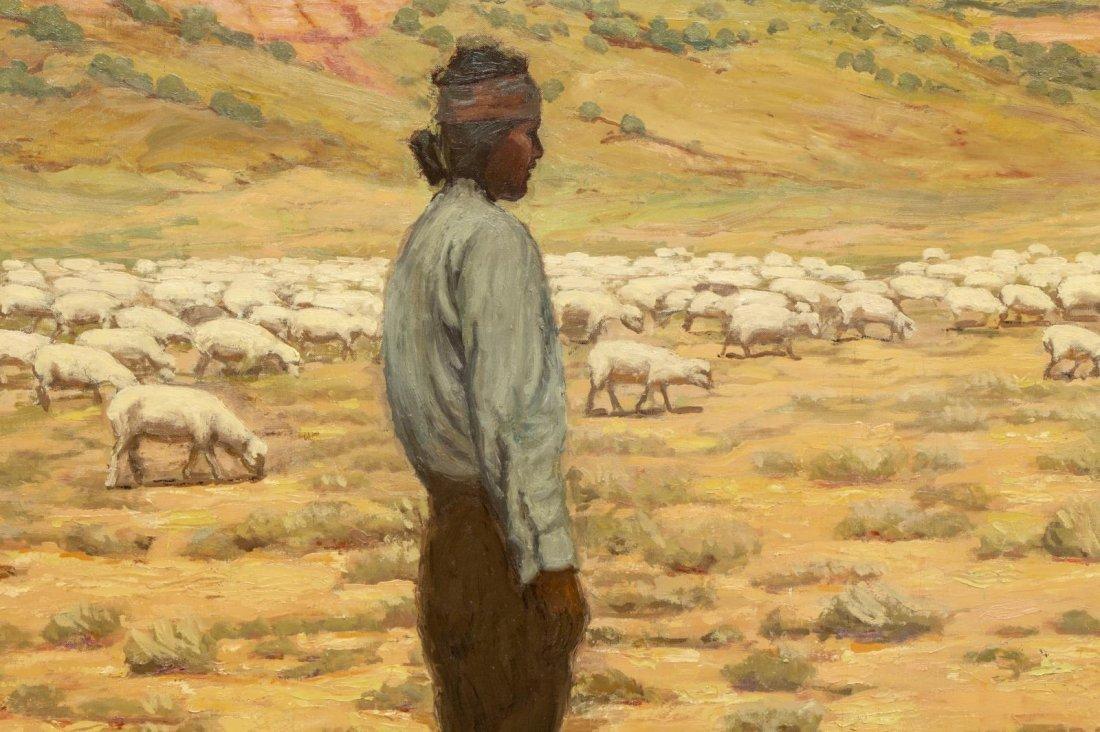 """CARL SCHMIDT (1885-1969) """"NAVAJO HERDER"""", 46 x 60 - 3"""