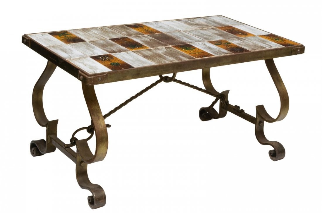 FRENCH MODERN TILE TOP & IRON COFFEE TABLE