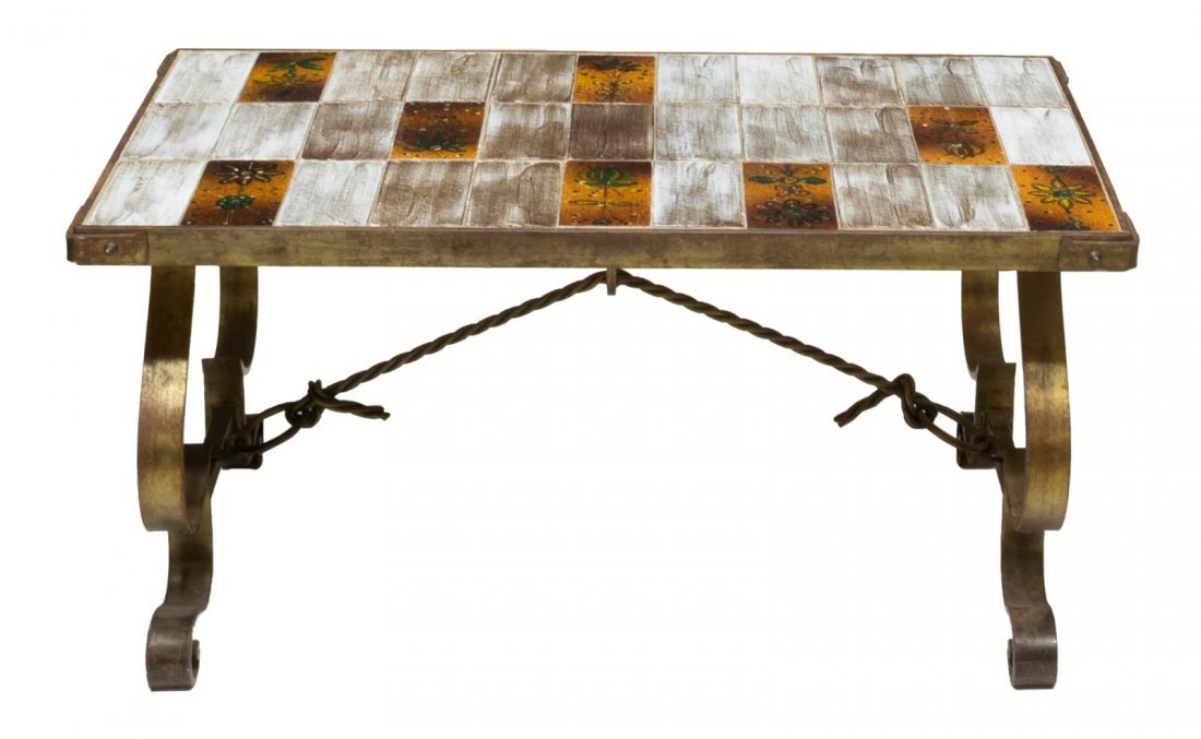 FRENCH MODERN TILE TOP & IRON COFFEE TABLE - 2