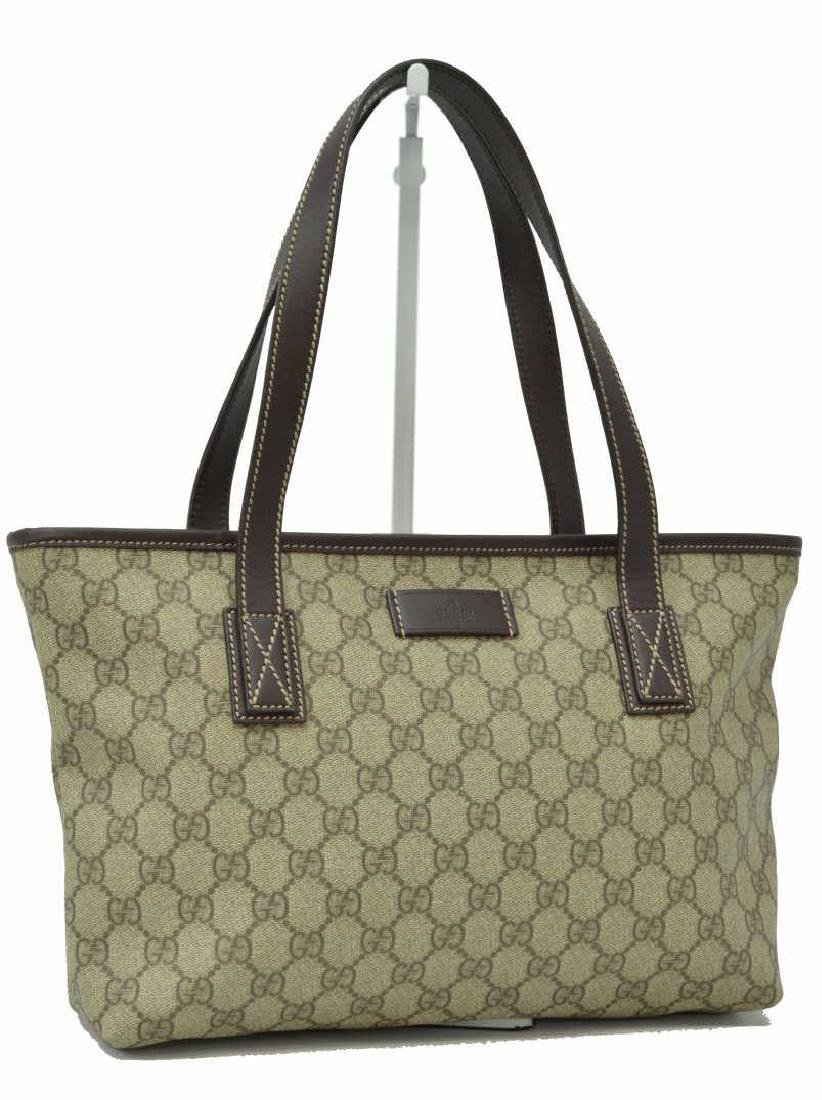 GUCCI BROWN & TAN MONOGRAM COATED CANVAS TOTE BAG