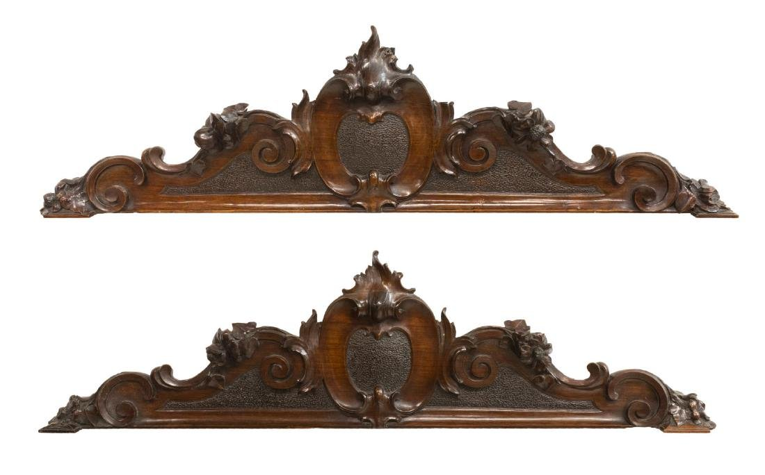 (PAIR) ARCHITECTURAL ELEMENTS CARVED MAHOGANY