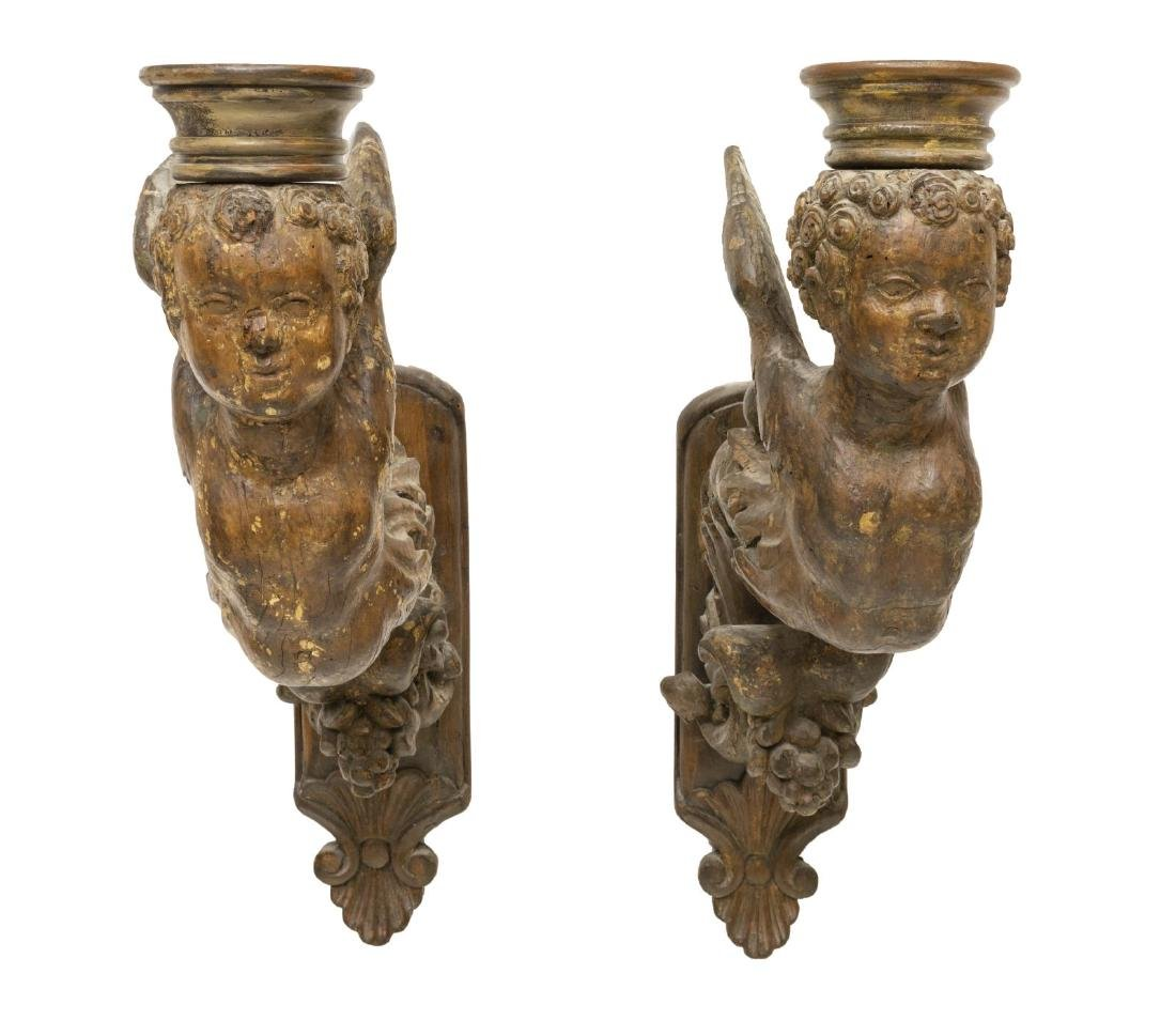 (2) ARCHITECTURAL WINGED PUTTI WALL BRACKET CORBEL