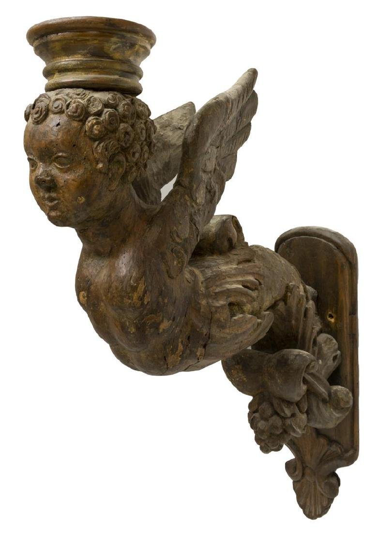 (2) ARCHITECTURAL WINGED PUTTI WALL BRACKET CORBEL - 3