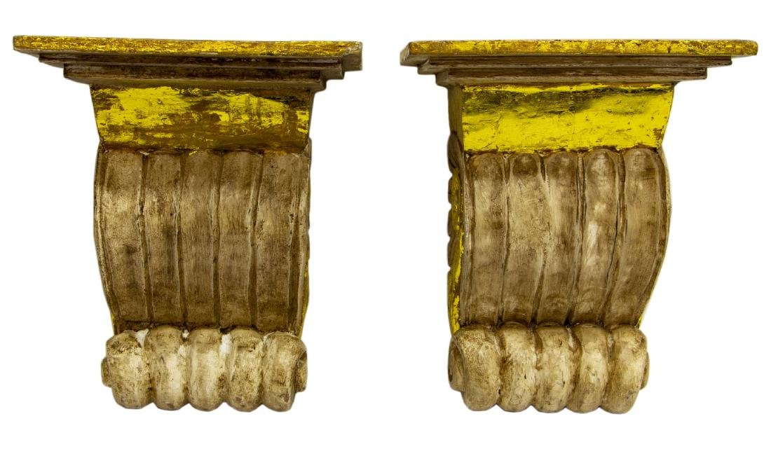 (2) ARCHITECTURAL PARCEL GILT CORBEL WALL BRACKET