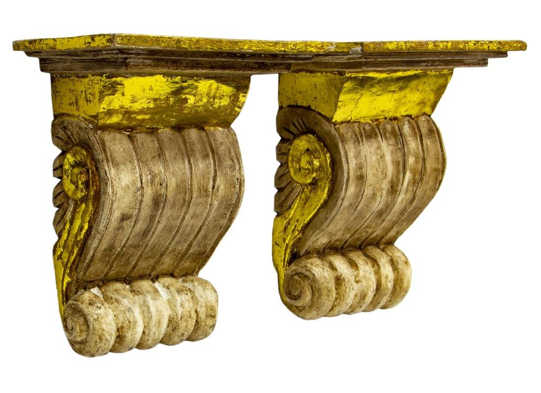 (2) ARCHITECTURAL PARCEL GILT CORBEL WALL BRACKET - 2