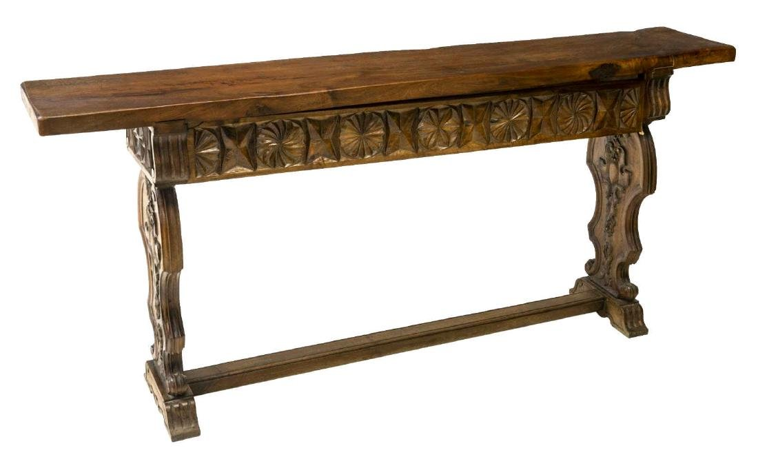 SPANISH BAROQUE STYLE CARVED WALNUT CONSOLE TABLE