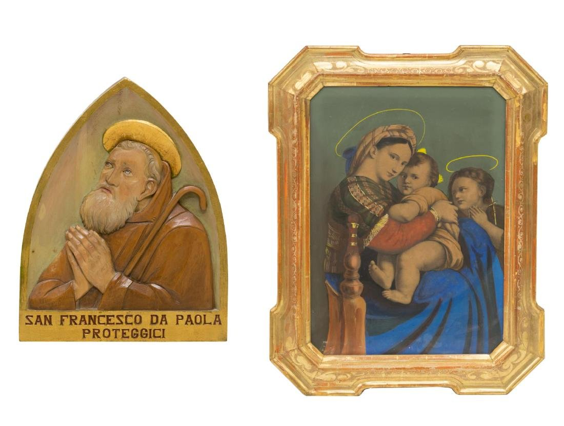 (2) RELIGIOUS FRAMED PRINT & WOOD CARVING