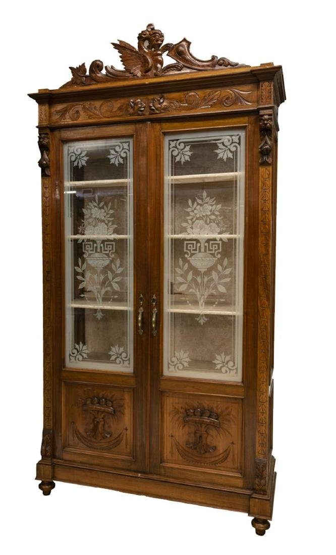 ITALIAN ETCHED GLASS CARVED BOOKCASE DISPLAY