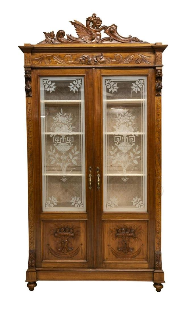 ITALIAN ETCHED GLASS CARVED BOOKCASE DISPLAY - 2