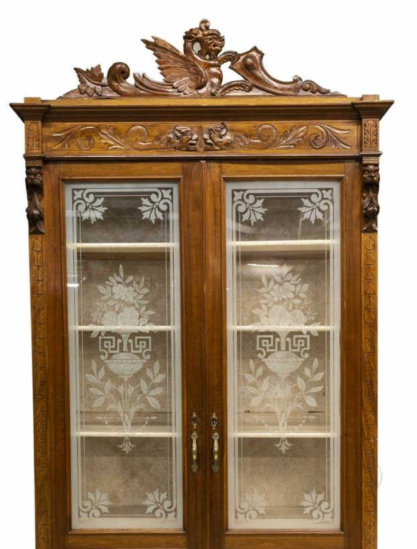 ITALIAN ETCHED GLASS CARVED BOOKCASE DISPLAY - 4