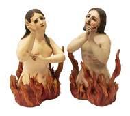 (2) SPANISH COLONIAL ANIMA SOLA RELIGIOUS SANTOS