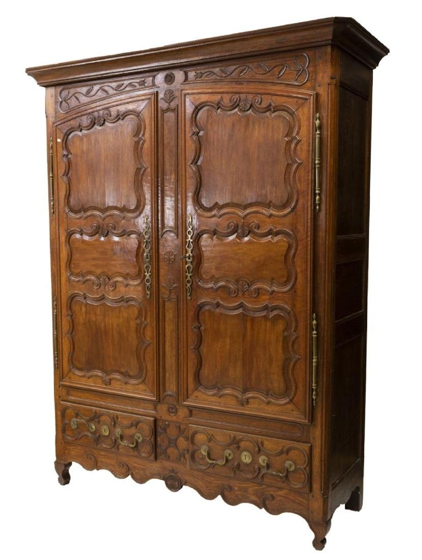 FRENCH LOUIS XV STYLE CARVED OAK ARMOIRE