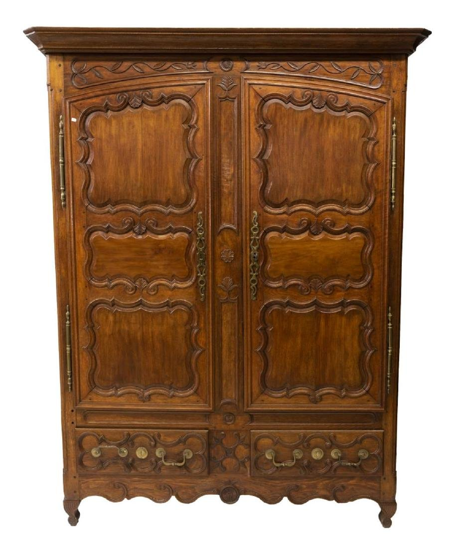 FRENCH LOUIS XV STYLE CARVED OAK ARMOIRE - 2